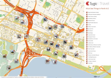 printable map perth city fraser avenue lookout perth tripomatic
