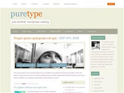 wordpress themes free no ads puretype wordpress no images theme for personal blog 125