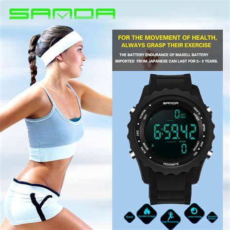 Pedometer Sport Running Digital Step Counter 2017 sanda luxury brand pedometer run step counter sport fashion casual watches