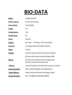Bio Data Exle by Marriage Biodata Format In Word File Free