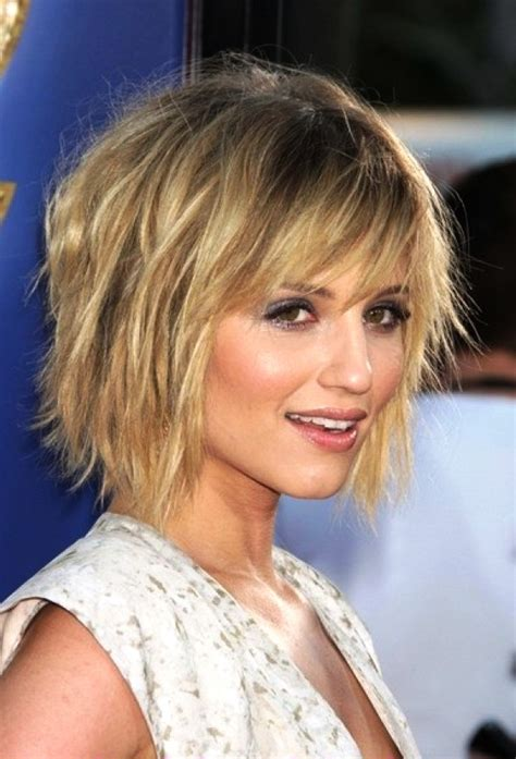 Choppy Hairstyles by Layered Neck Length Hairstyles With Bangs