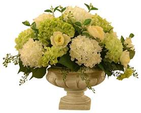 Silk Flower Arrangements For Dining Room Table white and green hydrangea large silk flower arrangement