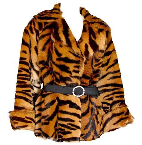 Setelan Tiger No Belt Vintage Tiger Stripe Pony Hair Jacket With Belt 1970s For