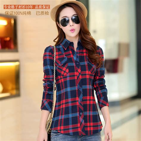 Baju Tartan Blouse Aj in the of 2015 s new korean fashion blouse plaid shirt cardigan sanding