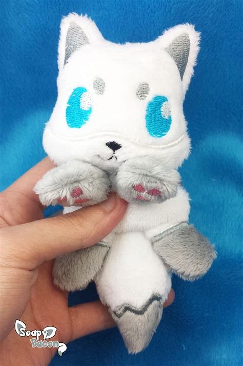 soapybacon white silver fox palm sized beanie plush