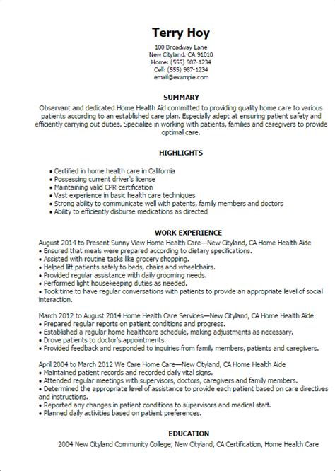 Resume Templates Health Care Aide Professional Home Health Aide Templates To Showcase Your