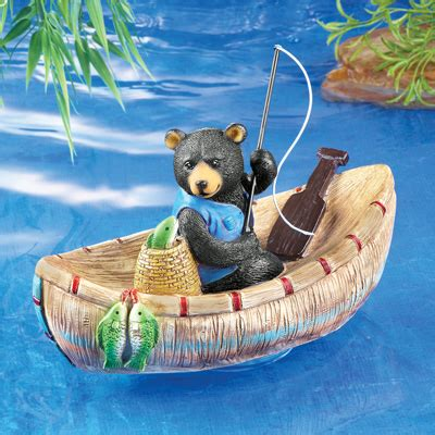 bear boat fishing bear in boat pool floater from collections etc