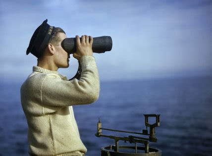Look Out leading seaman walker keeps a look out from the bridge of hm submarine tribune september 1942