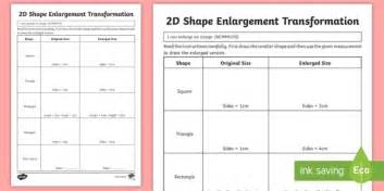 2d shape enlargement transformation worksheet activity