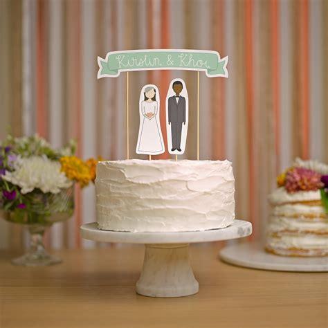 Handmade Cake Toppers - wedding cake topper set custom cake banner no 3