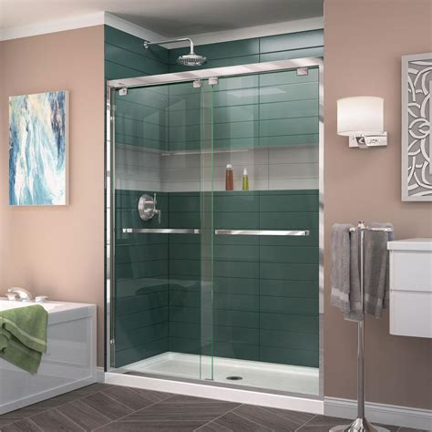 What Is A Bypass Shower Door Dreamline Encore 50 In To 54 In X 76 In Semi Frameless Bypass Shower Door In Chrome Shdr