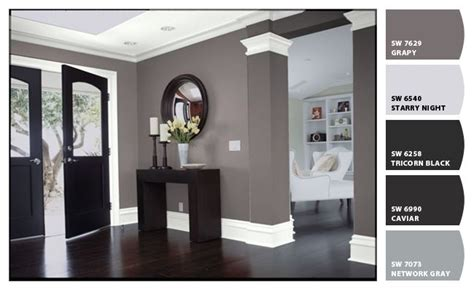 grey and white color scheme interior black interior doors white trim two coats sw all surface