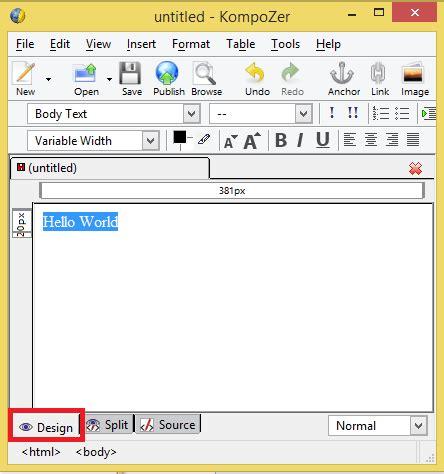 kompozer web design html editor kompozer design layout