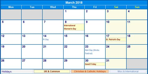 Calendar 2018 With School Holidays Uk March 2018 Calendar With Holidays Calendar Printable Free