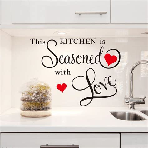 decorative decals for home red heart large quote wall stickers kitchen decor home