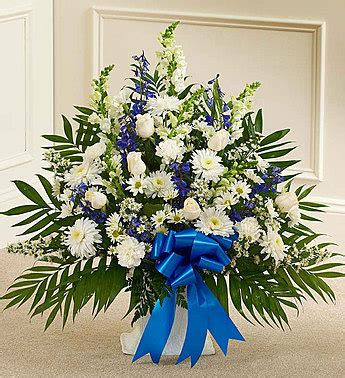 Blue And White Sympathy Floor Basket tribute blue white floor basket arrangement from 1 800