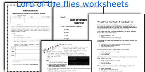Lord Of The Flies Worksheets by Lord Of The Flies Worksheet Photos Getadating