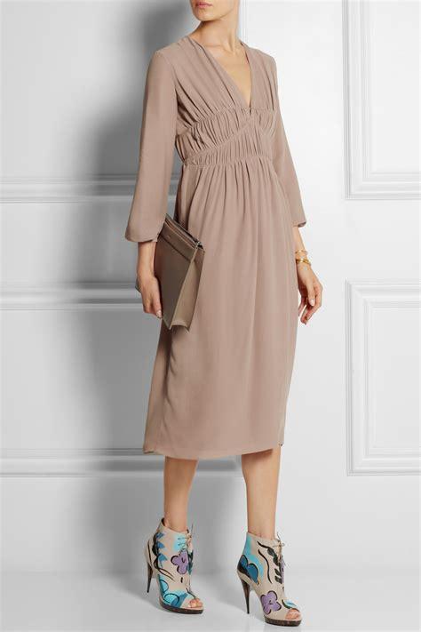 Midi Dress Burberry Benhur Murah lyst burberry prorsum ruched silk georgette midi dress in