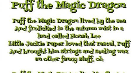 printable lyrics for puff the magic dragon puff the magic dragon lyrics this wallpapers