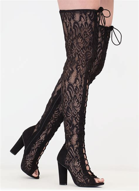 thigh high lace boots lace and lace up thigh high boots mocha black gojane