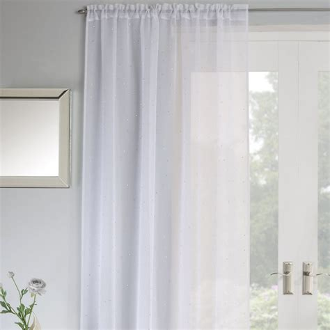 jewel curtains jewel sparkle slot top voile curtain panel white