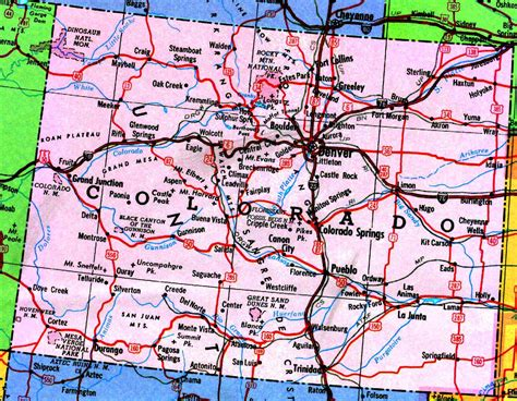 colorado map of state map of colorado free large images