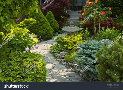 path housing natural flagstone path landscaping home garden stock photo