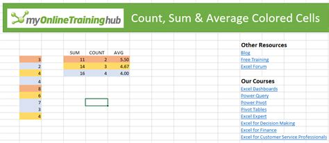 how to count colored cells in excel count sum and average colored cells