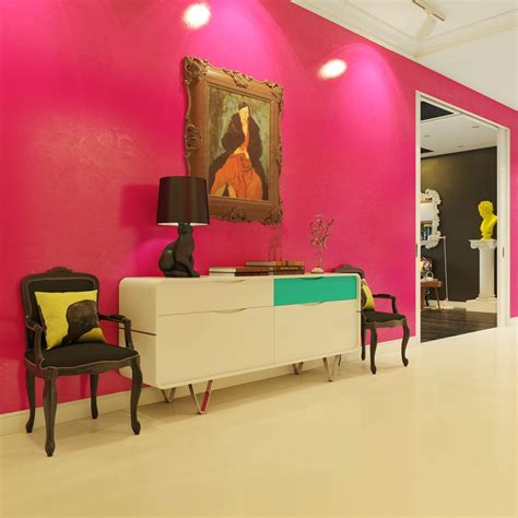 modern pop art style apartment pink foyer interior design ideas