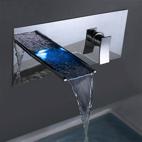 Led Bathtub Faucet by Hiilawe Chrome Finish Temperature Sensing And Cold Water Led Waterfall Bathtub Faucet Funitic