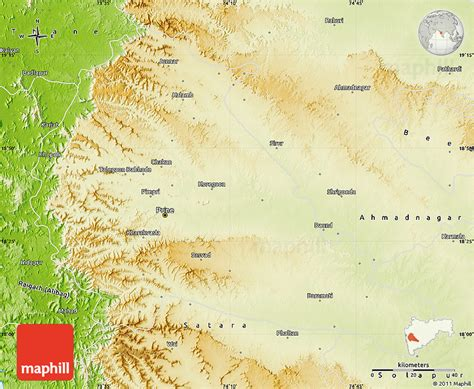 pune geographical map physical map of pune