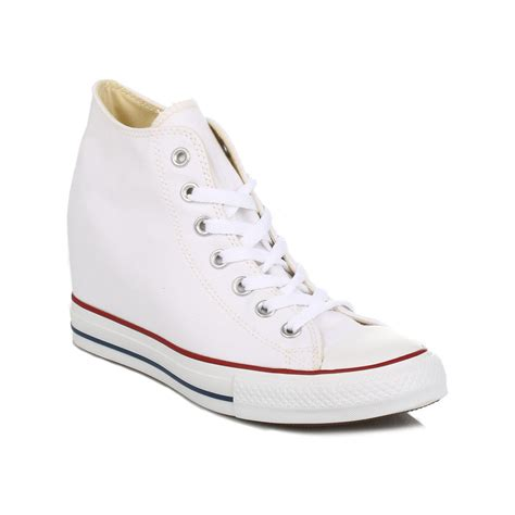 converse all mid high top shoes white