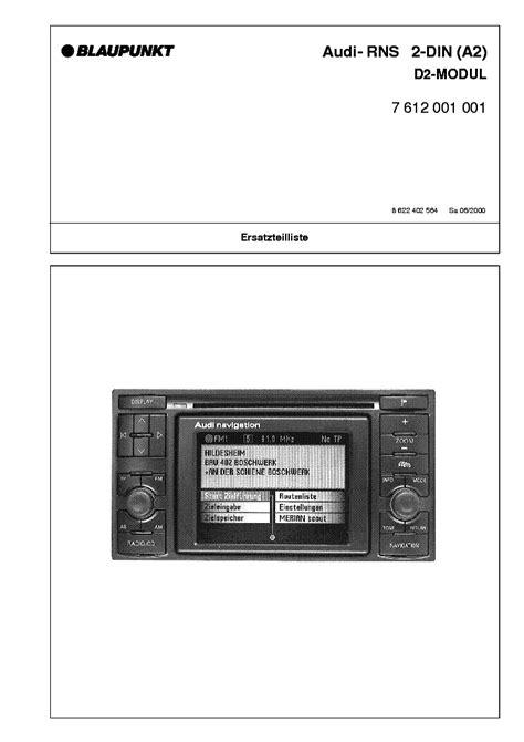 Blaupunkt Audi Navigation Rns 2 Din A2 7 612 001 001 Parts