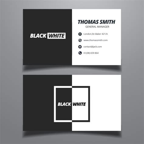 black business card template ai black and white business card vector free