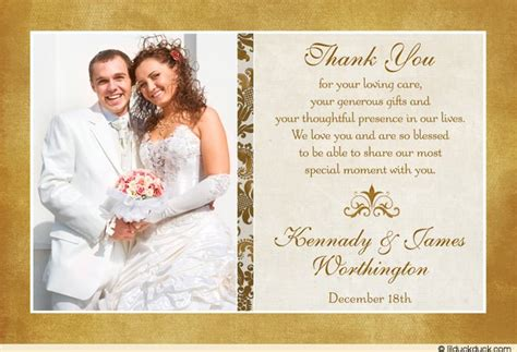 wedding thank you card message template classic photo wedding thank you cards image