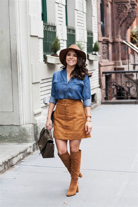 Rok Fashionable Sussan Brown Mini Skirt 30 beautiful styles of wearing suede skirts
