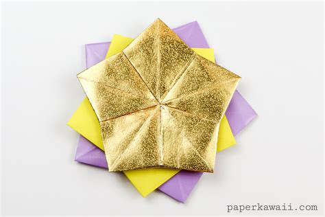 Origami Lucky - 5 point origami coaster tato tutorial paper kawaii