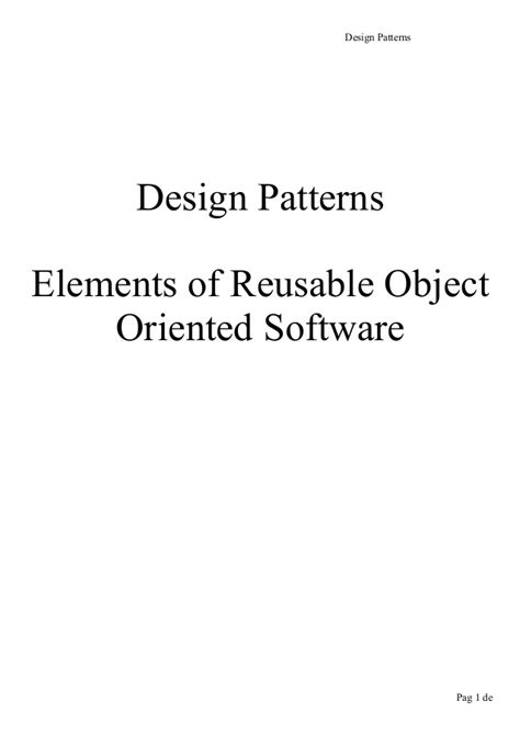 design pattern recovery in object oriented software design patterns elements of reusable object oriented