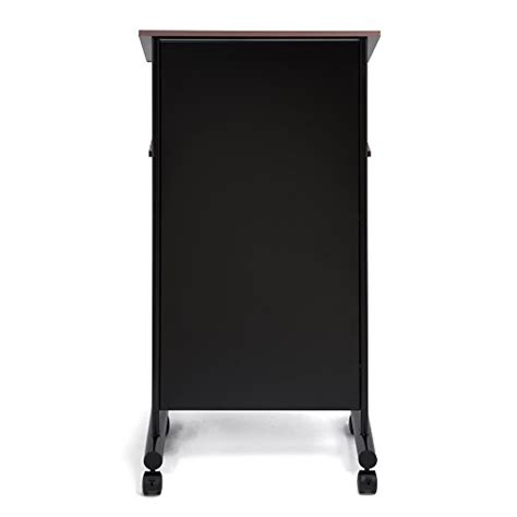 wheeled lectern with storage shelf beech black