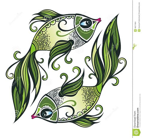 pisces zodiac sign stock vector image of astrology