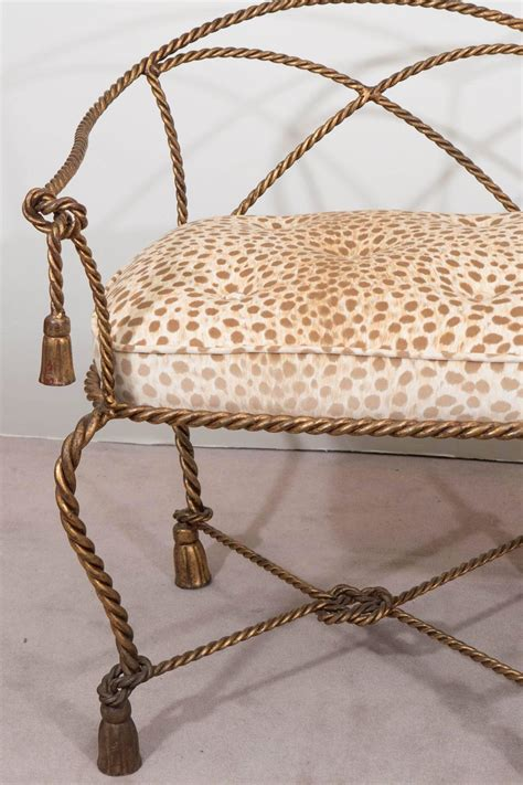 leopard print settee mid century italian gilt rope and tassel settee with