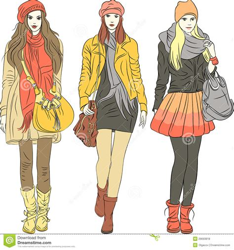 vector fashion stylish in warm clothes stock vector