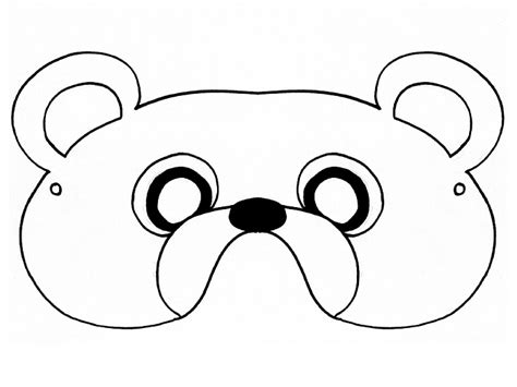 Bear Mask Coloring Page | free teddy bear mask coloring pages