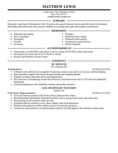 best experienced telemarketer resume exle livecareer