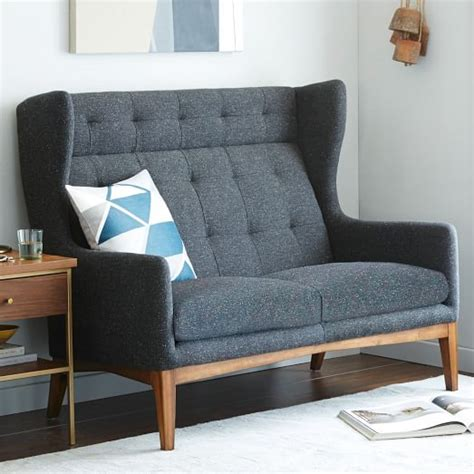 settee west elm james harrison settee asphalt tweed west elm