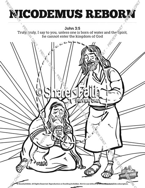 coloring page jesus and nicodemus john 3 nicodemus bible sunday school coloring pages