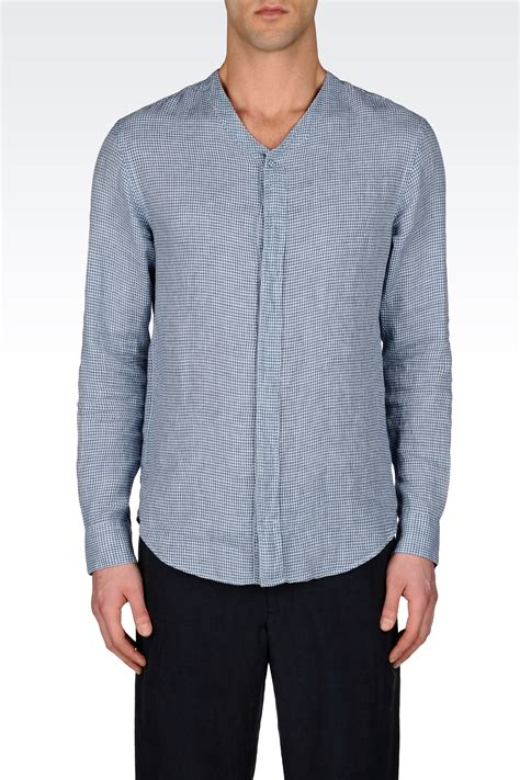 pattern for linen shirt armani vneck linen shirt with check pattern in blue for