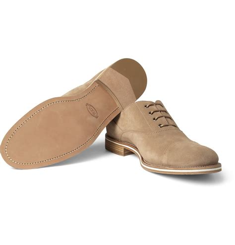 suede oxford shoes for tod s suede oxford shoes in brown for lyst