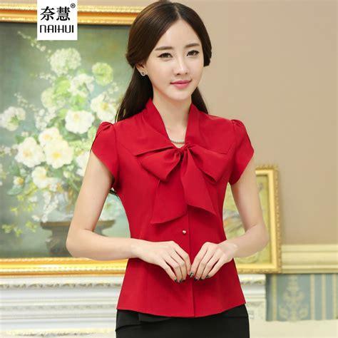 Nosh Korean Style V Neck Blouse Bow Tie Clara blouses style with innovative picture sobatapk