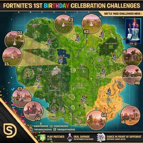 fortnite birthday cake locations revealed